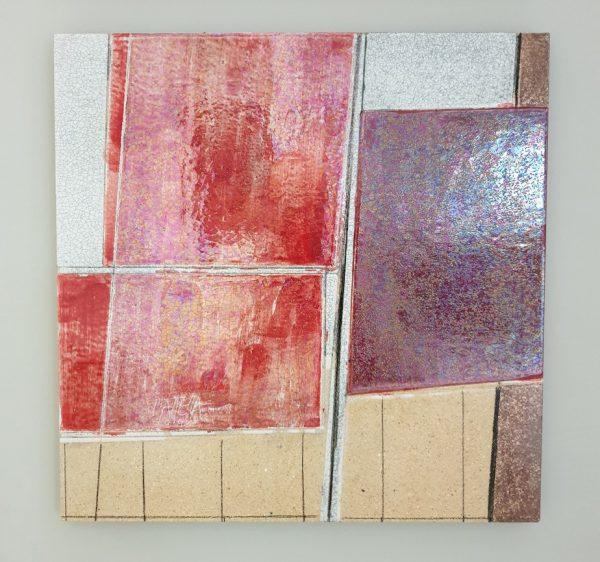 Segni Rosso Lastra da Parete Arte Ceramica Oscar Piattella