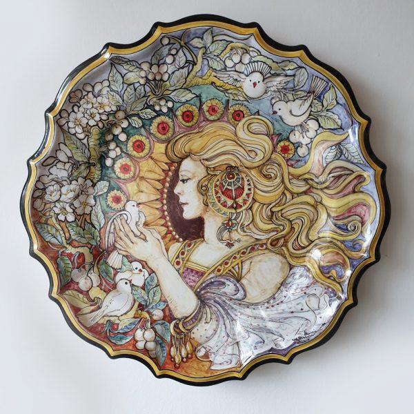 Piatto da Parete Arte Ceramica Liberty Alfons Mucha