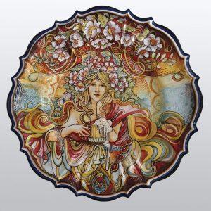 Dama con Boccale Piatto da Parete Arte Ceramica Alfons Mucha