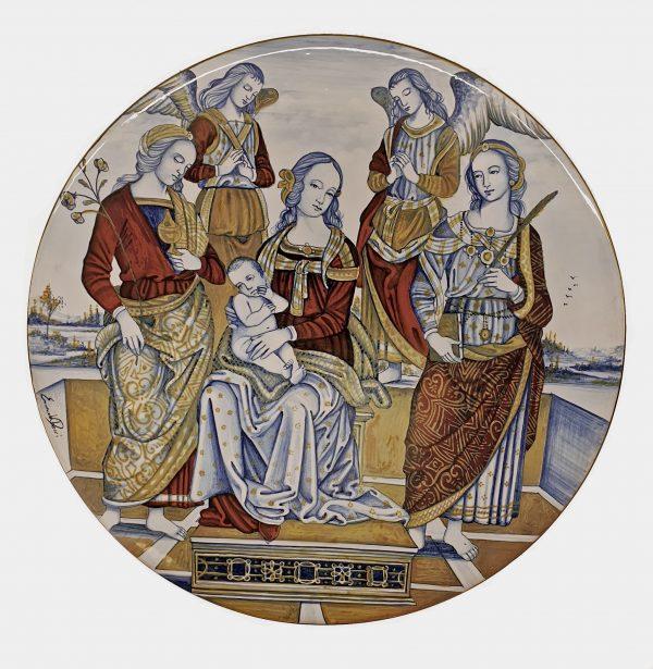Madonna in Trono tra i Santi Piatto da Parete Arte Ceramica