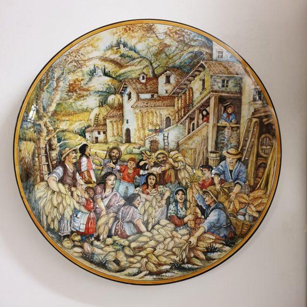 La Raccolta del Grano Piatto Decorativo Arte Ceramica La Mastro Giorgio