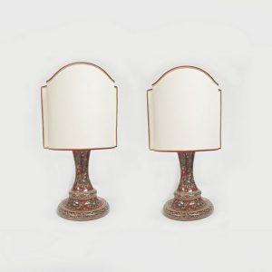 Lampade a Stele da Comodini Rossa Arte Ceramica Mastro Giorgio