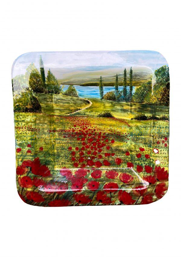 Centro Tavola Decoro Campagna con Lago Ceramica Deruta