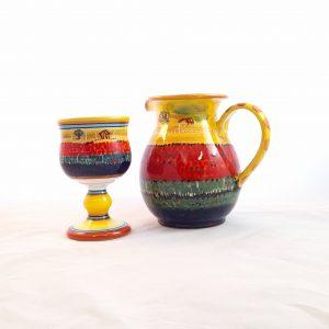 Calici Caraffa Decooro Castelluccio Ceramica Deruta