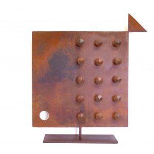 Pesce Quadrato Chiodato Scultura Ferro Officina Peppoloni