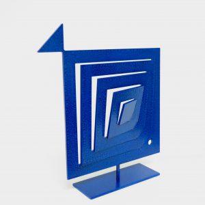 Pesce Quadrato Tagliato Blu Scultura Ferro Officina Peppoloni