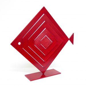 Pesce Rombo Tagliato Rosso Scultura Ferro Officina Peppoloni