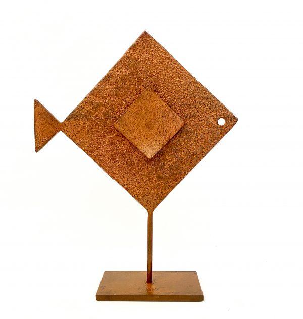 Pesce Rombo Riquadro Scultura Ferro Officina Peppoloni