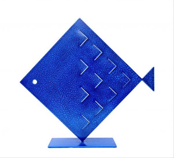 Pesce Rombo Squame Blu Scultura Ferro Officina Peppoloni
