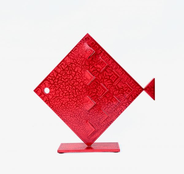 Pesce Rombo Squame Rosso Scultura Ferro Officina Peppoloni