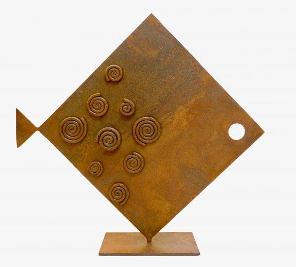 Pesce Rombo Spirali Scultura Ferro Officina Peppoloni