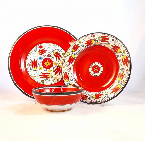 Servizio Piatti Decoro Flora Ceramica Deruta