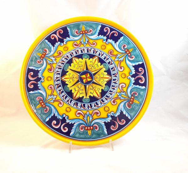 Piatto Pizza Decoro Giglio Ceramica Deruta