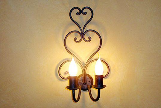 Deco applique da muro 2 luci in ferro battuto fatto a mano